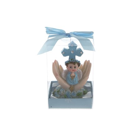 Mega Favors Keepsake Figurine 12 pcs Baby Boy Blue Angel Kneeling Praying On Palm With Cross | Awesome Decorations or Party Favors | for Baptism, First Communion, Religious and Special Celebrations