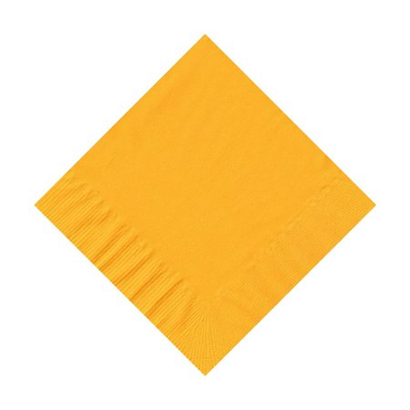 200 -  (4 Pks of 50) 2 Ply Plain Solid Colors Beverage Cocktail Napkins Paper - Harvest/School Bus - Yellow Napkins