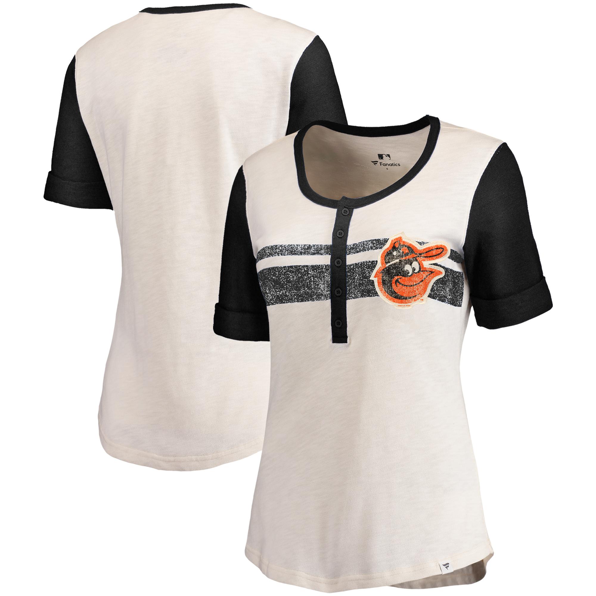 Baltimore Orioles Fanatics Branded Women's True Classics Henley T-Shirt - Cream/Black