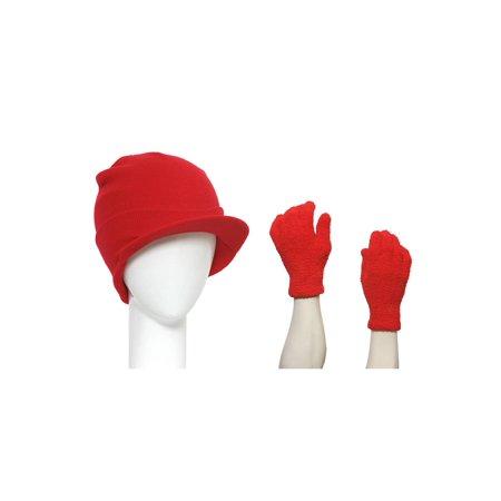 Red Cuffed Beanie Visor + Fuzzy Winter Gloves - image 1 de 1