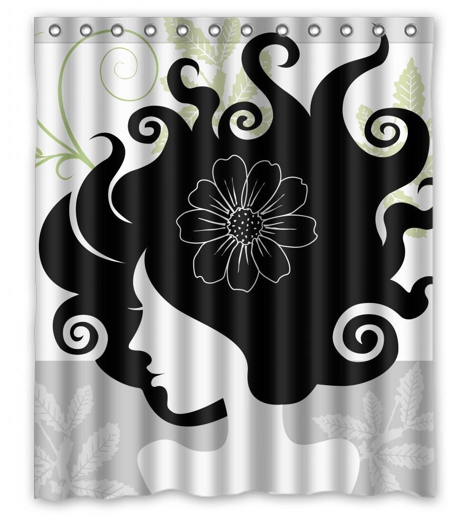 Ganma Cartoon Black Hair Green Botany Sexy Girl Shower Curtain Polyester Fabric -6450