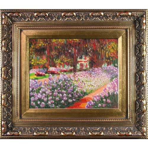 Wildon Home 'Artists Garden at Giverny' Canvas Art by Claude Monet Impressionism in Baroque Antique Gold Frame