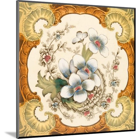 An Antique Victorian Wall or Fire Place Tile with Floral Design Within a Classical Cartouche, C1880 Wood Mounted Print Wall Art By Chris_Elwell