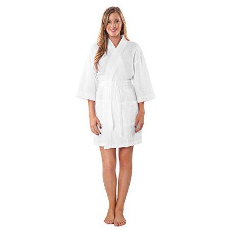 e7b41d3340 Turquaz Linen - Turquaz Linen Lightweight Knee Length Waffle Kimono  Bridesmaids Spa Robe (White