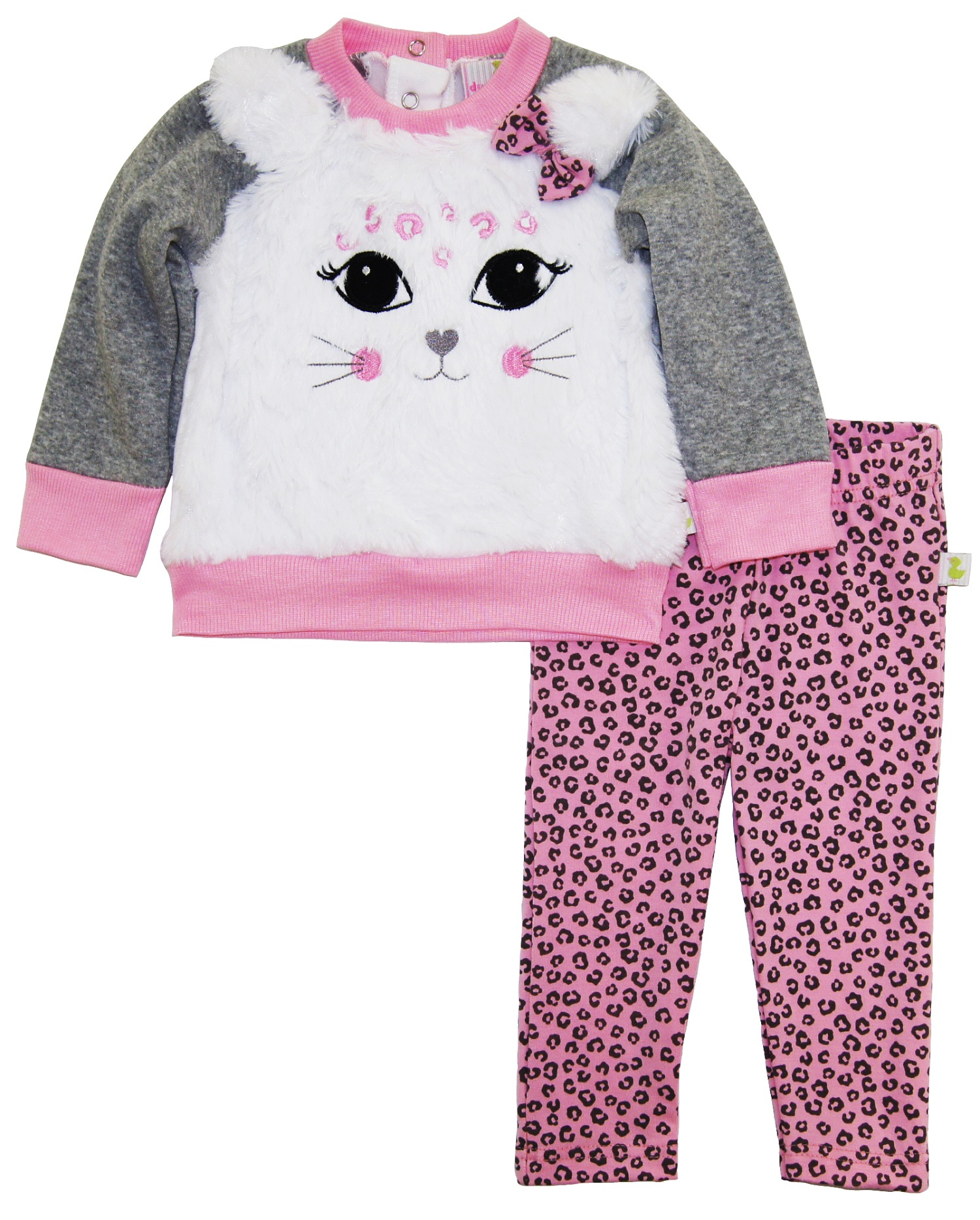 Duck Duck Goose Baby Girls Cute Kitty Outfit Cardigan Sweater Animal Print Legging Pant Gift Set
