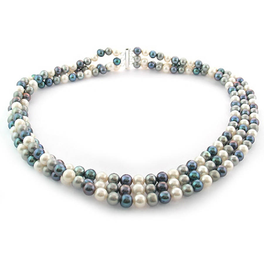 """Image of Dark Multi-Color Freshwater Pearl Necklace for Women, Sterling Silver 3 Row 18"""" 6.5mm x 7mm"""