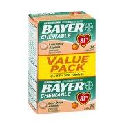 Bayer - Low Dose Aspirin Chewable Tablets, 81 mg Orange Flavored Value Pack  ( 3 X 36 ea  )108 ea