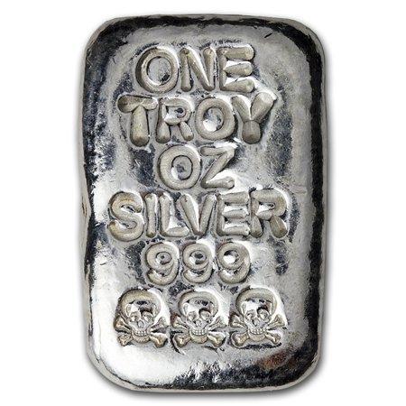 1 oz Silver Bar - Atlantis Mint (Skull & Bones) ()