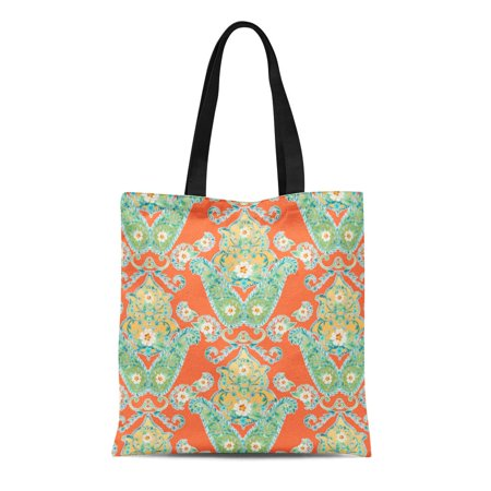 LADDKE Canvas Tote Bag Patterns Boho Cottage Modern Bohemian Flower Paisley Collection Circle Reusable Handbag Shoulder Grocery Shopping Bags