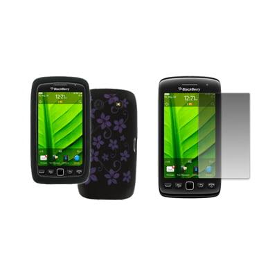 EMPIRE BlackBerry Torch 9850 9860 Black with Purple Hawaiian Flowers Design Silicone Skin Case Cover + Screen Protector [EMPIRE