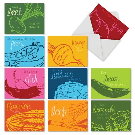 M6589OCB VEGGIE VERSES' 10 Assorted All Occasions Greeting Cards Featuring Clever Vegetable Themed Sayings and Bold Graphic Images on Bright Backgrounds, with Envelopes by The Best Card