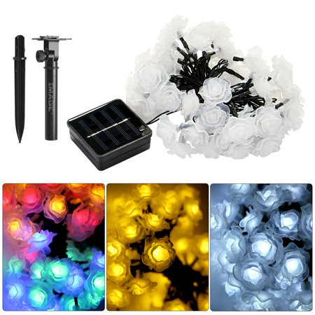 Flower Christmas Lights (Solar Powered 50 LED Rose Flower String Light Waterproof Christmas Fairy Light for Indoor Outdoor Decoration)