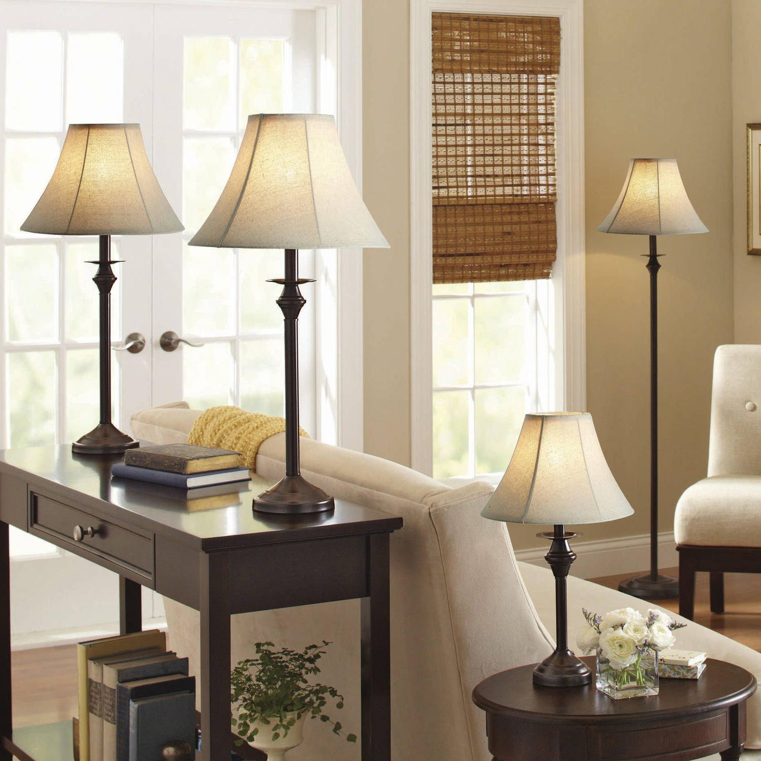 Better Homes and Gardens 4-Piece Lamp Set, Dark Brown Finish ...