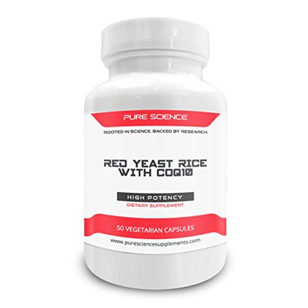 Pure Science Red Yeast Rice 600Mg And Coq10 100Mg   Supports Cardiovascular And Immune Health   50 Vegetarian Capsules