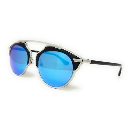 Light Blue Gold Rim (Cat Eye Women Fashion Sunglasses Gold Metal Rim Mirrored Lens Blue Black Pink )