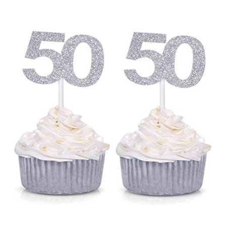 Set Of 24 Silver Number 50 Cupcake Toppers 50th Birthday Celebrating Party Decors By Giuffi