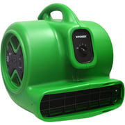 XPOWER X-600A 1/3 HP 2400 CFM 3 Speed Air Mover, Carpet Dryer, Floor Fan, Blower with Build-in GFCI Power Outlets - Green