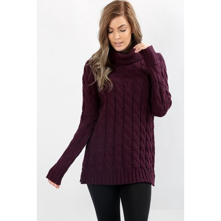 Jed Fashion Womens Chunky Cable Knit Turtleneck Sweater Walmart