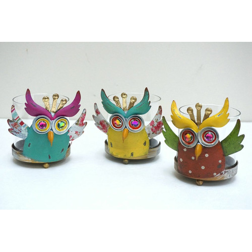 Attraction Design Home 3 Piece Owl Hurricane Candle Holder Set