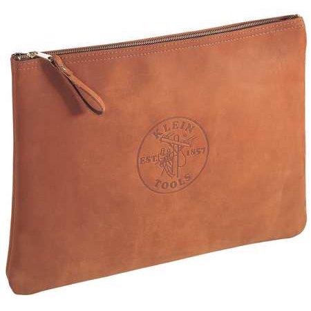 KLEIN TOOLS Contractors Zipper Portfolio,Leather