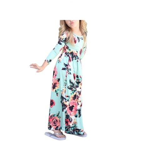 1-10Y Girls Boho Long Maxi Dress Long Sleeve Floral Dress Sundress - Girls Long Maxi Dress