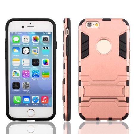 Bracket Stand Design Dual Layer Protective Phone Case Rose Gold for iPhone 6S - image 1 de 7