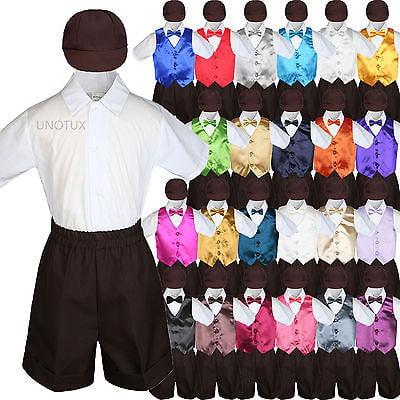 7e6638be2ac9 Leadertux - Baby Boys Toddler Formal Vest Shorts Suit Satin Vest Bow ...