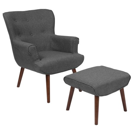 - Flash Furniture Bayton Upholstered Wingback Chair with Ottoman in Dark Gray Fabric