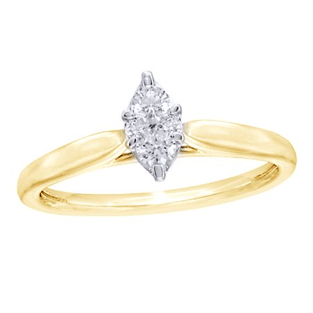 Round Cut White Natural Diamond Marquise Cluster Promise Ring in 10k Yellow Gold (0.2 Cttw)