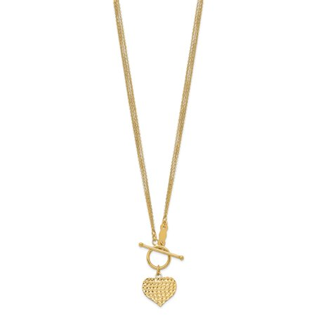 Roy Rose Jewelry 14K Yellow Gold 3-Strand Diamond-cut Heart Toggle Necklace ~ length: 18 inches