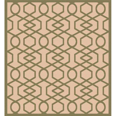 Ims 2608107265bg Gr Geometric Pattern Heavyweight Indoor Outdoor Patio Rug 44 Beige Green 8 X 11 Ft