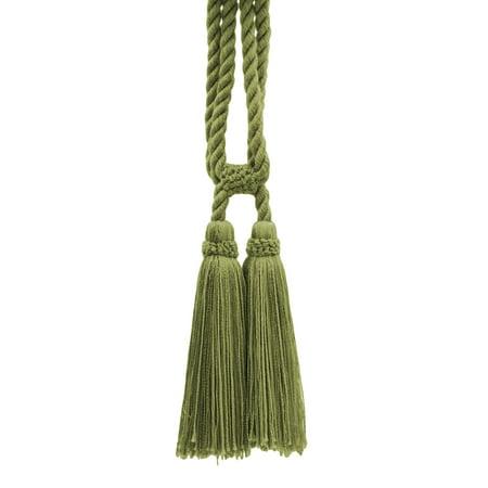 58 Dark Khaki Color - Beautiful Doric Khaki Green Curtain & Drapery Double Tassel Tieback 5 1/2