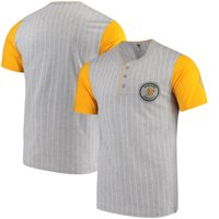Oakland Athletics Majestic Cooperstown Collection Pinstripe Henley T-Shirt - Gray/Gold
