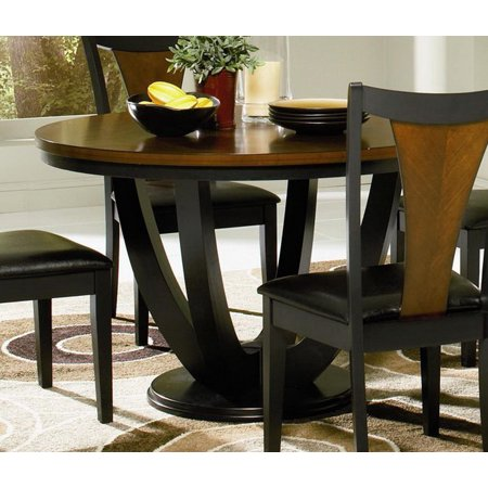 Boyer 102091 47 Round Contemporary Table with Pedestal Base and Distressed Detailing in Black and Cherry (Chairs Sold Separately)""