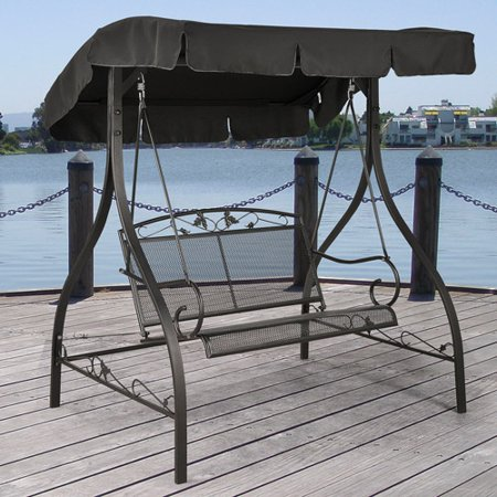 - Mainstays Jefferson Wrought Iron 2-Person Outdoor Canopy Porch Swing