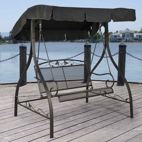 Mainstays Jefferson Wrought Iron Outdoor Canopy Porch Swing, Seats 2