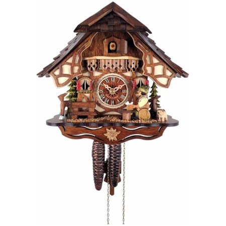 River City Clocks Chalet Style One Day Cuckoo Clock with Beer Drinker Chalet Style Cuckoo Clock