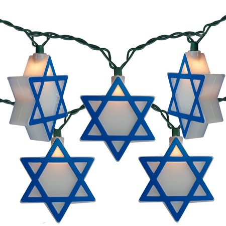 Set of 10 Blue and White Hanukkah Star of David Novelty Christmas Lights - 10 ft Green Wire