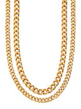 """Scoop Brass Yellow Gold-Plated Layered Curb Chain Necklace, 14.5"""" + 4"""" Extender"""