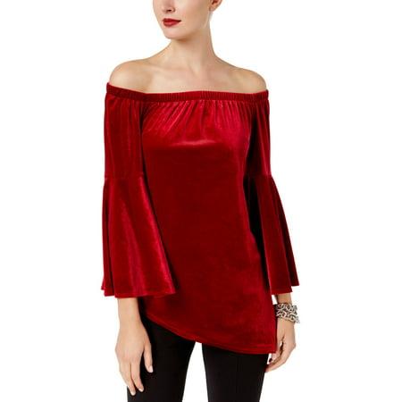 NY Collection Womens Velvet Asymmetric Dress Top ()