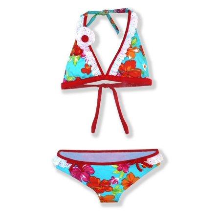 cddee3a2d681b Azul Swimwear - Azul Girls Red Turquoise Floral Totes Cute Halter 2 ...