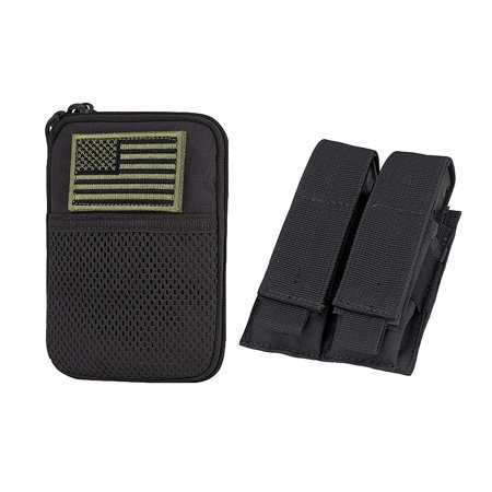 Condor Pocket Pouch/US Patch (Black) with Condor Tactical Double Pistol Mag Pouch (Black)