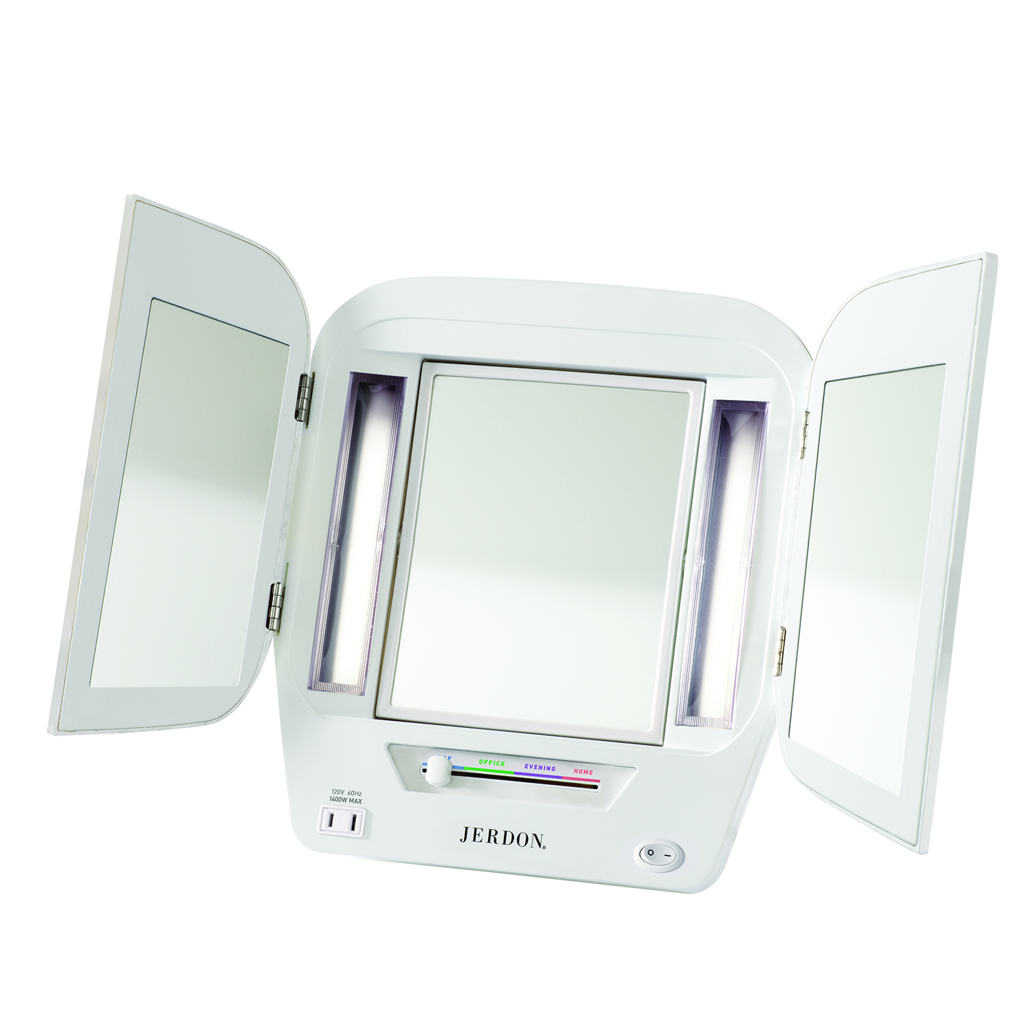 Jerdon Euro Style Tri-Fold Lighted Mirror