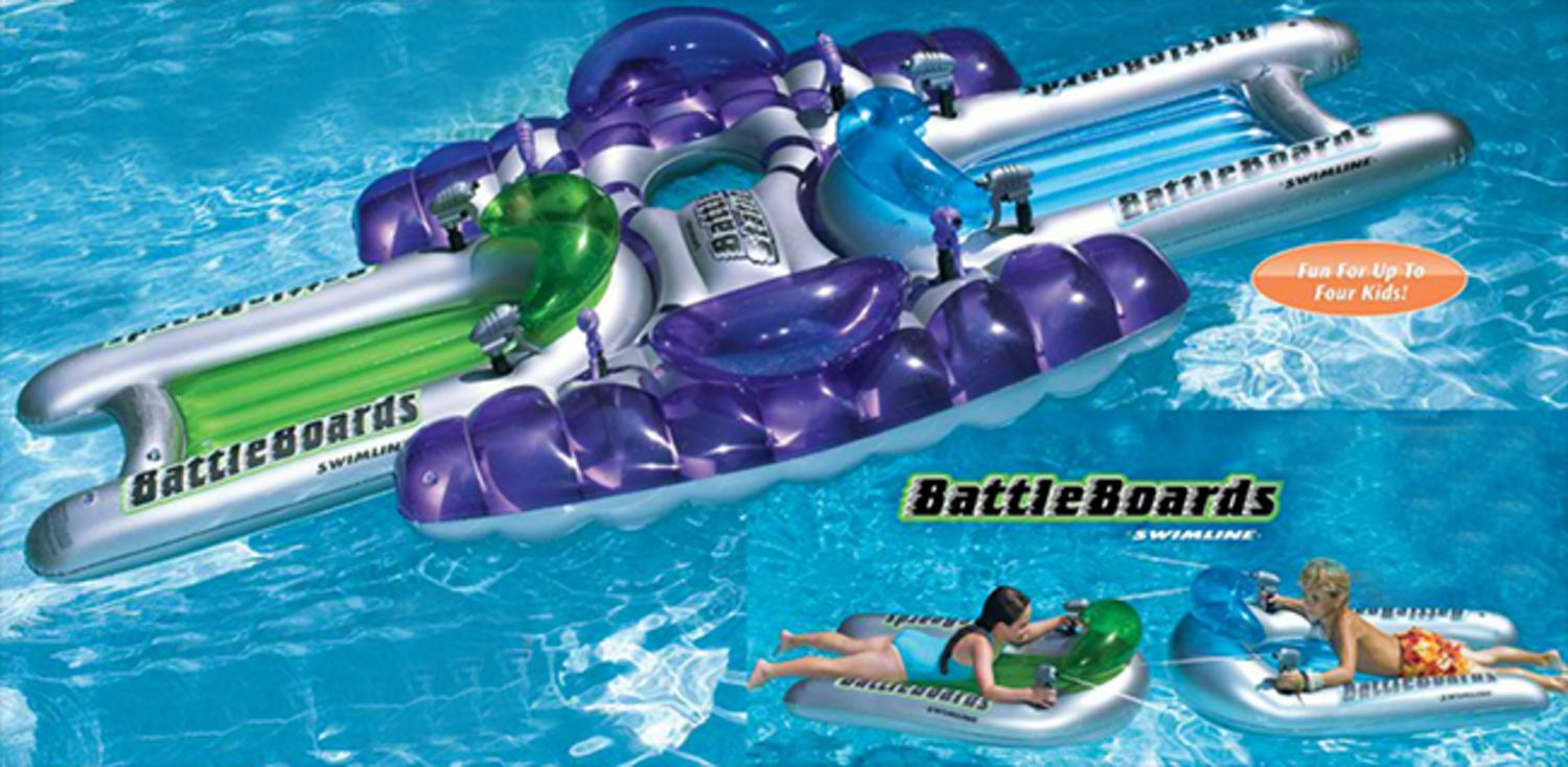 Water Sports 3-Piece Inflatable Battle Board Station Swimming Pool Squirter Set by Swim Central