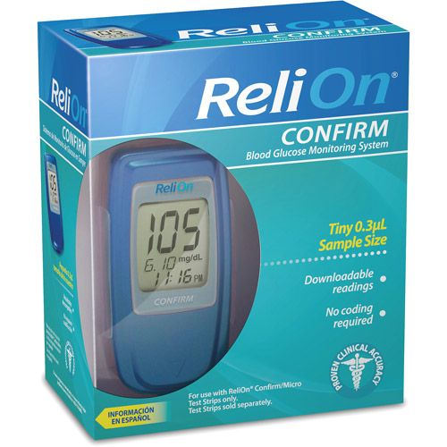 ReliOn Confirm Blood Glucose Meter, Blue