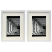 """Studio 500 Value 2-Pack, 12x16"""" Smooth Wide Contemporary Picture Frames with Off White Mat Board for 8x12"""" Photos, White"""