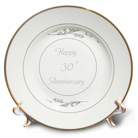 30th Anniversary Gifts (3dRose print of elegant silver 30th anniversary greeting, Porcelain Plate, 8-inch )