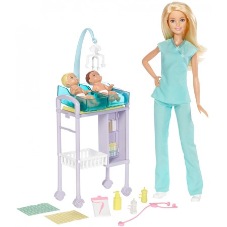 Barbie Careers Baby Doctor Barbie Doll and Playset - Baby Doll Lingure