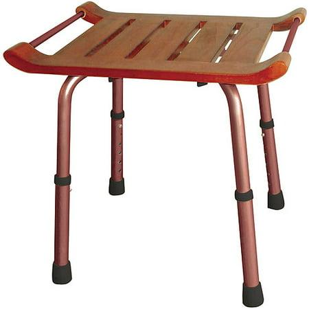 Drive Medical Adjustable Height Teak Bath Bench Stool, Rectangular ...
