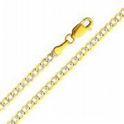 Precious Stars SEC0128200 Two Tone Gold 3. 2 mm.  Cuban Chain 20 inch Necklace